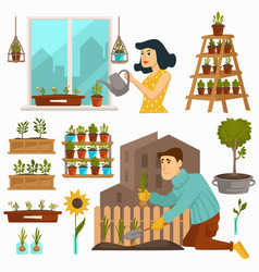 Gardening hobpeople calm pastime with nature vector
