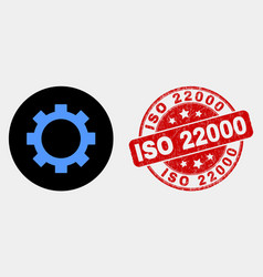 gear icon and grunge iso 22000 seal vector image