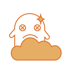 Ghost kawaii character with cloud vector