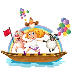 Girl and animals on boat vector image