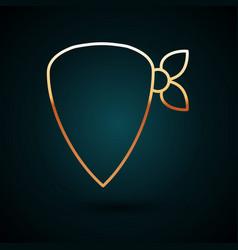 Gold line cowboy bandana icon isolated on dark vector