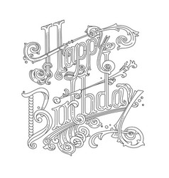 happy birthday card coloring paint it yourself vector image