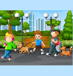 Happy children walking and enjoying on the park vector