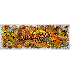 happy thanksgiving hand drawn cartoon doodles vector image
