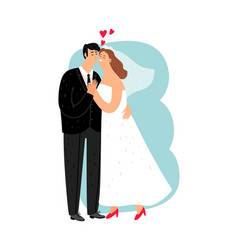 happy young newlyweds vector image