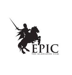 horseback knight silhouette horse warrior paladin vector image