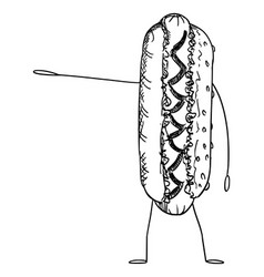 hot dog or hotdog food cartoon character pointing vector image