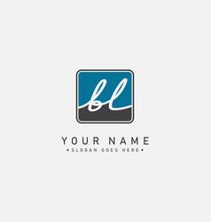 Initial letter bl logo - handwritten signature vector