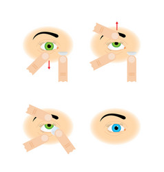 instructions for the use of contact lenses vector image