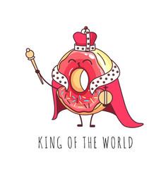 kawaii funny donut king sweet fast food vector image