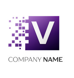 letter v logo symbol in the colorful square with vector image
