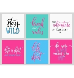 Lettering postcard quotes set vector