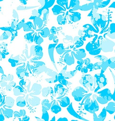 Light blue paint effect hibiscus seamless pattern vector image