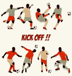 Lots of soccer player action football kick some ba vector