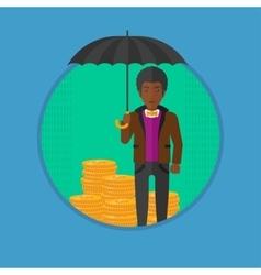 Man with umbrella protecting money vector image