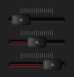 Media slider bar black and red user interface vector