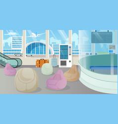 Modern airport waiting room lounge cartoon vector