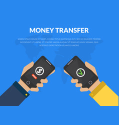 Money transfer people sending and receiving money vector