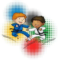 Olympics theme with boys doing taekwando vector image