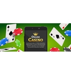 Online mobile casino background Poker app online vector image