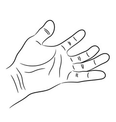 open palm of the human hand contour of black vector image