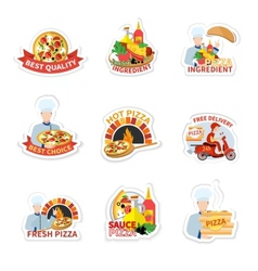 Pizza Label Set vector image
