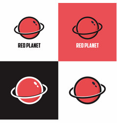 planet red logo planetary graphic vector image