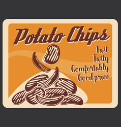 potato chips fastfood snacks retro poster vector image