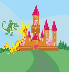 Princess in the burning tower vector