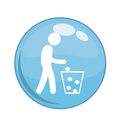 recycling person button icon vector image