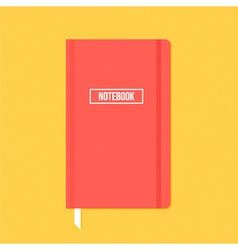 Red notebook with elastic band vector