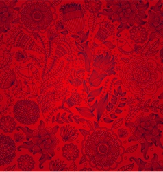 red wall-paper with a flower pattern vector image