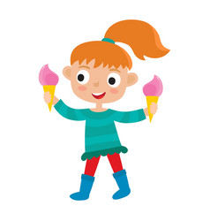 redhaired girl with two ice creams vector image