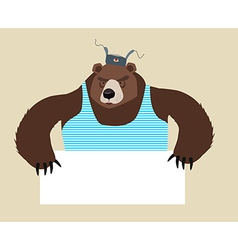Russian Bear stuff holding blank paper vector image