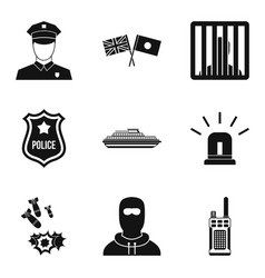 security service icons set simple style vector image