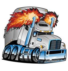 Semi truck tractor trailer big rig cartoon vector
