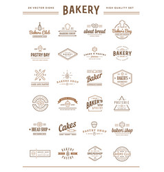 set bakery pastry elements and bread icons can vector image