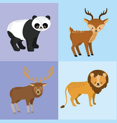 set cute animal and natural wildlife vector image