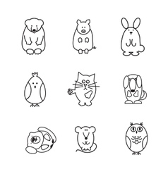 set of animal doodle contours or icons vector image