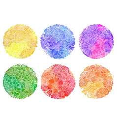 Set of six circle wwtercolor backgrounds vector