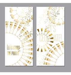 Sparkling wine concept with gold metal elements vector