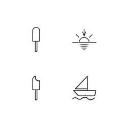 Summer linear icons set simple outline icons vector