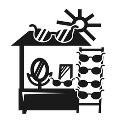 Sun glasses kiosk icon simple style vector