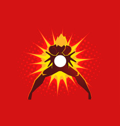 superhero creating an energy blast through his vector image