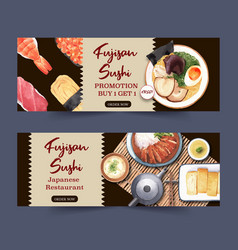 Template for banners design sushi-themed vector