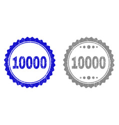 Textured 10000 grunge stamp seals with ribbon vector