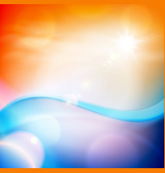 Water wave in sunset time orange background vector