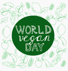 world vegan day template banner poster vector image