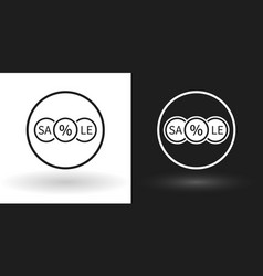 creative sale icon in white and black version vector image