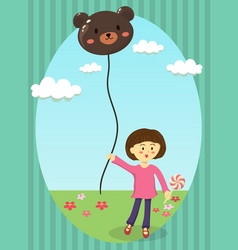 girl holding bear balloon vector image